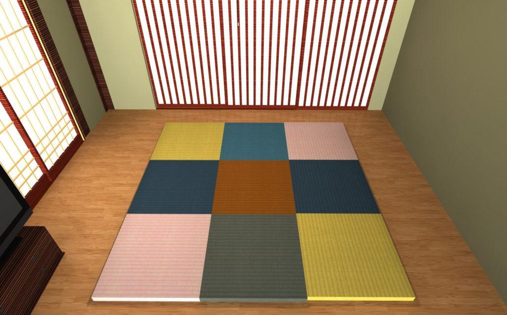 【置き畳を形状で1枚作って、様々な畳テクスチャを貼って配置する】