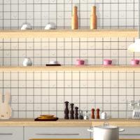 リリカラのミッフィ壁紙を使って作成したキッチンの3Dインテリアパース