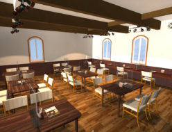 新型コロナ禍対策用パーツを使ってマイホームデザイナーでカフェのパースを描く