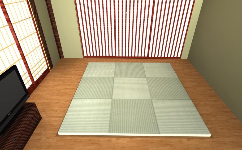 3Dマイホームデザイナーに収録されている琉球畳風のテクスチャを置き畳風の形状に貼る
