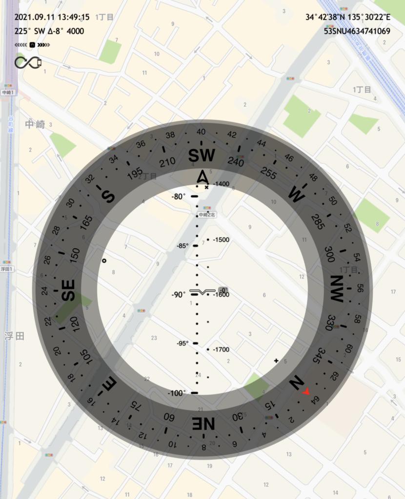 【Commander Compass GOにアップル標準のマップを表示させた。※冒頭の画像はGoogleマップを表示させている。】