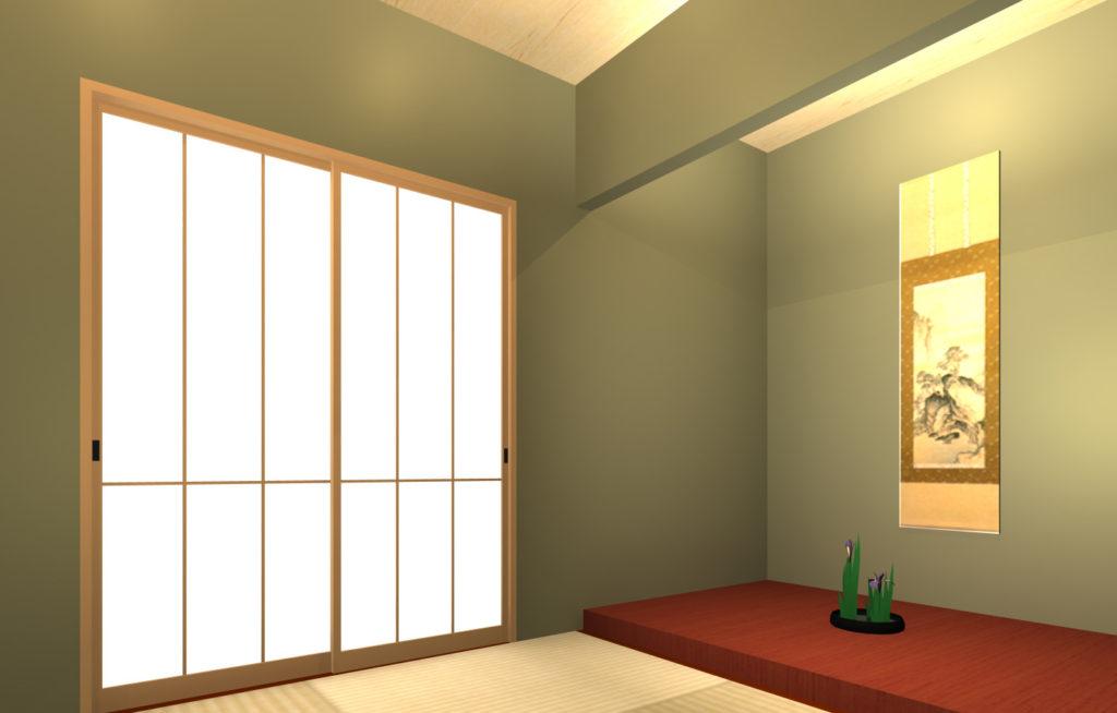 補助光と手前のダウンライトの影を表示しないように設定したOptimageレンダリング